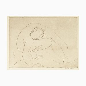 Reclined Nude - Etching and drypoint by Anna Bass - Late 20th Century Late 20th Century
