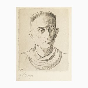 Portrait of Henry de Montherlant - Original Etching by Yves Brayer Mid 20th Century