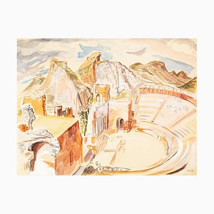 The Ancient Theater - Watercolor on Paper by M.E. Wrede - Mid 20th Century Mid 20th Century