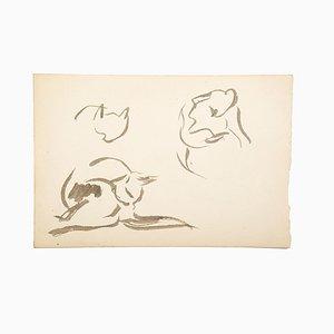Gatos - Acuarela sobre papel de artista francés Mid-Century, siglo XX