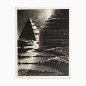 Egyptian Lanscape - Original Mezzotint by Michel Estèbe - Late 1900 Late 1900