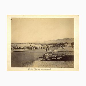 Chefoo Trade Harbour - Ancient Albumen Print 1880/1900 1880/1890