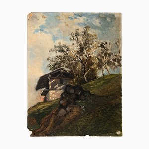 House in the Mountain - Oil on Board by french artist 20th Century 20th Century