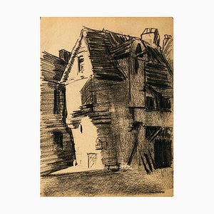 The Village - Original Charcoal Drawing by Jean Chapin - Early 1900 Early 1900
