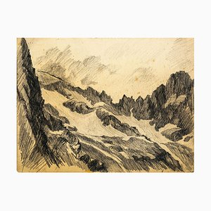 Mountaint - Original Charcoal Drawing by Jean Chapin - Early 1900 Early 1900