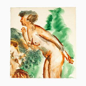 Reclined Nude - China Ink and Watercolor Drawing by Jean Chapin - Early 1900 Early 1900