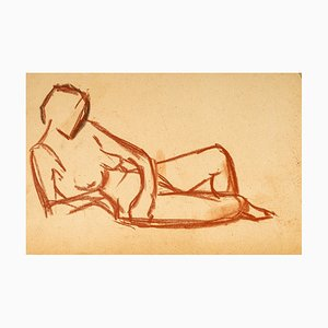 Lying Down Nude - Original Red Chalk Drawing by French Master Early 20th Century Early 20th Century