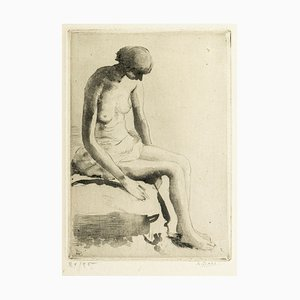 Pensive Nude - Etching and Aquatint by Anna Bass - Late 20th Century Late 20th Century