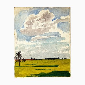 Countryside - Watercolor Drawing by Jean Chapin - Early 1900 Early 1900