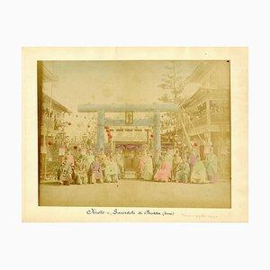 Priester in Kyoto - Handbemalter Albumen Druck 1870/1890 1870/1890