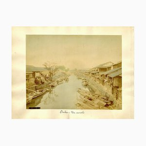 Waterway in Osaka - Hand-Colored Albumen Print 1870/1890 1870/1890