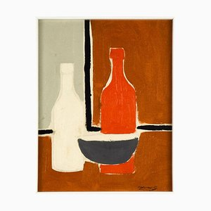 Bottles - Original Mixed Media by French Master Mid 20th Century Mid 20th century