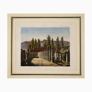 Pompeii - Original Etching and Watercolor - 19th Century 19th Century