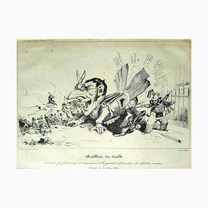 L'artillerie du Diable - Original Lithograph by J.J. Grandville - 1834 1834