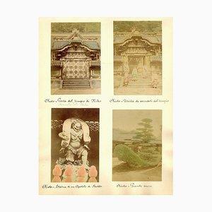 Templi in Giappone - Stampa antica su album 1870/1890 1870/1890