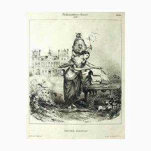 Pauvre France - Original Lithograph by J.J. Grandville - 1831 1831