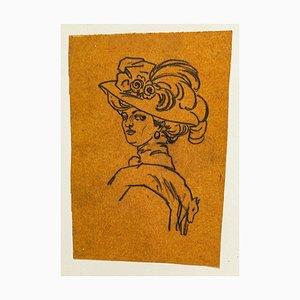 Portrait - Original China Tuschezeichnung auf Papier - Frühes 20. Jahrhundert Frühes 20. Jahrhundert