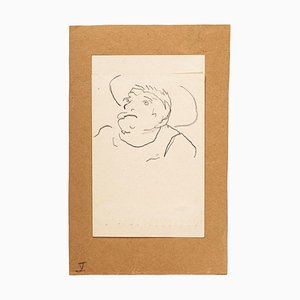 Man On Postcard - Original China Ink Drawing on Paper - Early 20th Century Early 20th Century