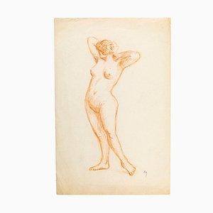 Nackte Frau - Original Bleistiftzeichnung Spätes 19. Jahrhundert, 19. Jh