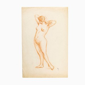 Naked Woman - Original Pencil Drawing Late 19th Century Late 19th Century