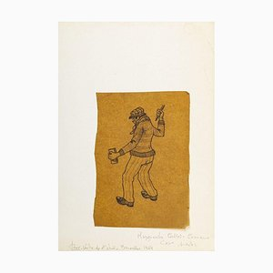 Standing Worker - Original China Ink Drawing on Paper - 1969 1969