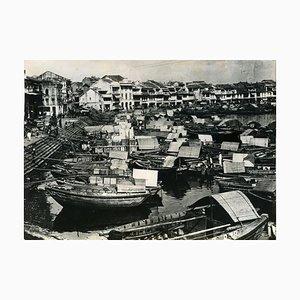 Ansicht des alten Hafens von Singapur - Vintage Fotografie 1930er Jahre