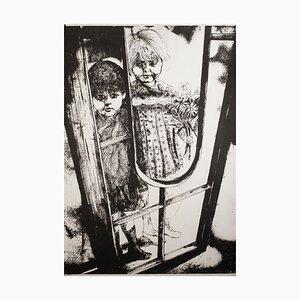 Children - Original Lithograph by G. De Stefano - 1970 ca. 1970s