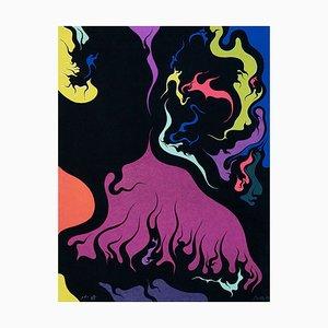 Lithographie Flames - Original par Luigi Boille - 1971 1971