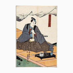 Samurai - Original Holzschnitt von Utagawa Kunisada - ca. 1830 Ca. 1830