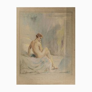 Finally You Will Believe That... - Original Pastel Drawing by W. Hablett Early 20th Century