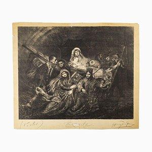 Exodus - Original Lithograph nu H. de Groux - Late 19th Century Late 19th Century