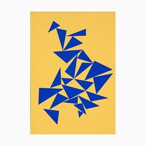 Triangles on Yellow - Original Screen Print by Lia Drei - 1970 ca. 1970 ca.