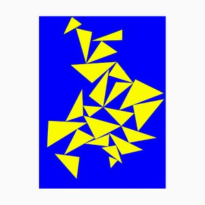 Triangles on Blue - Original Screen Print by Lia Drei - 1970 ca. 1970 ca.