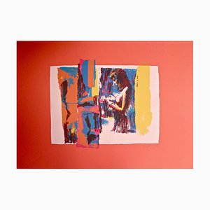Woman in Red - Original Screen Print by Nicola Simbari - 1976 1976
