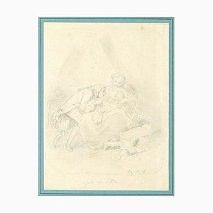Family Portrait - Schwarz-Weiß Zeichnung auf Papier auf Karton aufgeklebt - 1800 19. Jahrhundert