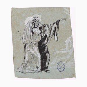 Holy Family - Tuschezeichnung auf Papier von A Mérodack-Jeanneau, spätes 19. Jh