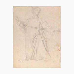 Woman - Original Pencil Drawing by Désiré François Laugée - Late 19th Century Late 19th Century