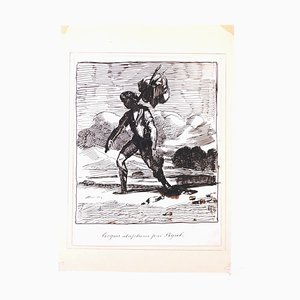 Wayfarer - Original Ink Drawingh by Edmé-Jean Pigal - Mid 1800 Mid 19th Century