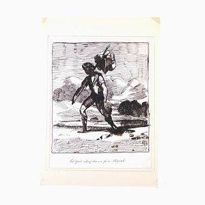 Wayfarer - Original Ink Drawingh von Edmé-Jean Pigal - Mid 1800 Mid 19. Jh