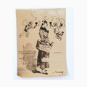 Woman - Originaltinte Zeichnung auf Papier von H. Somm - Spätes 19. Jh. Ende 19. Jh