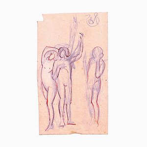 Nude Women - Ink Drawing on Paper by A. Mérodack-Jeanneau late 19th Century