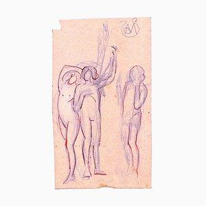 Nude Women - Tuschezeichnung auf Papier von A. Mérodack-Jeanneau, spätes 19. Jh