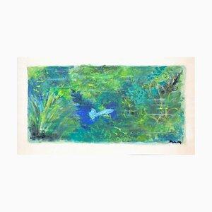 Grüne Landschaft - Original Tempera auf Papier von J. Dreyfus-Stern 1930er
