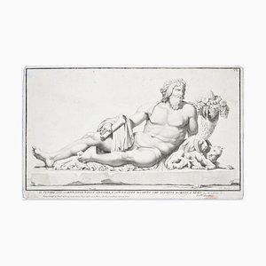 Tiber mit Cornucopia, Romulus und Remus und dem Wolf - Radierung 1704 1704