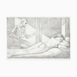 Artist and Model - Original Etching by G. Girardi 1970s