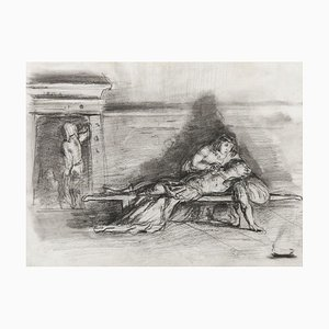 Mark Anthony and Cleopatra - Original Pencil Drawing Beginning of 20th Century Early 20th Century