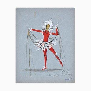 Pascal Av. Montaigne - Original Tempera on Paper by Esy Beluzzi - 1956 1956