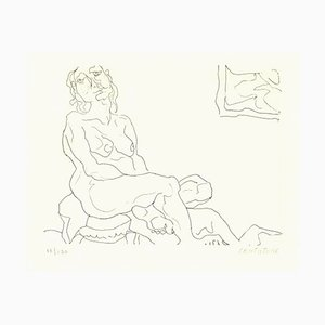 Sitting Female Nude - Original Etching by D. Catatore - 1970s 1970s