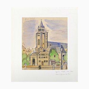 Saint Germain de Prés - Tinte, Pastell und Wasserfarbe auf Papier - 1950er 1950er