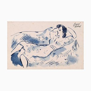 Lying Down on the Sofa - Ink and Watercolor on Paper - Late 20th Century Late 20th Century